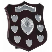 "CHAMPION SILVER 10"" ANNUAL SHIELD with 7 SIDE SHIELDS & TOP SCROLL"
